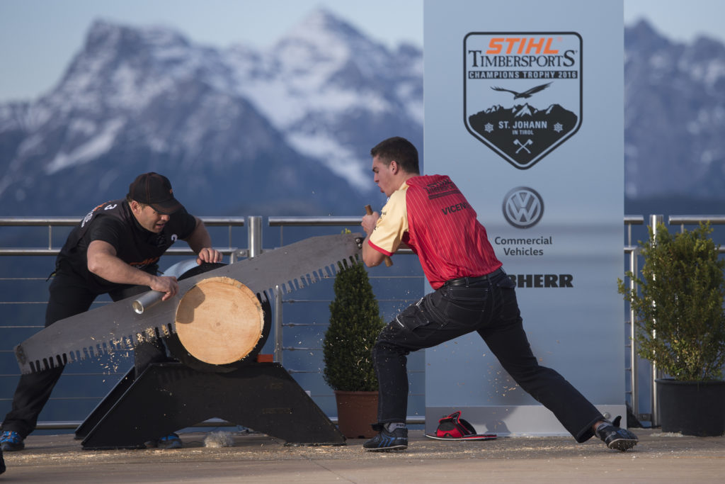 Iker Vicente of Spain performs at the Stihl Timbersports Rookie World Championship in St. Johann in Tirol, Austria on May 25, 2016.